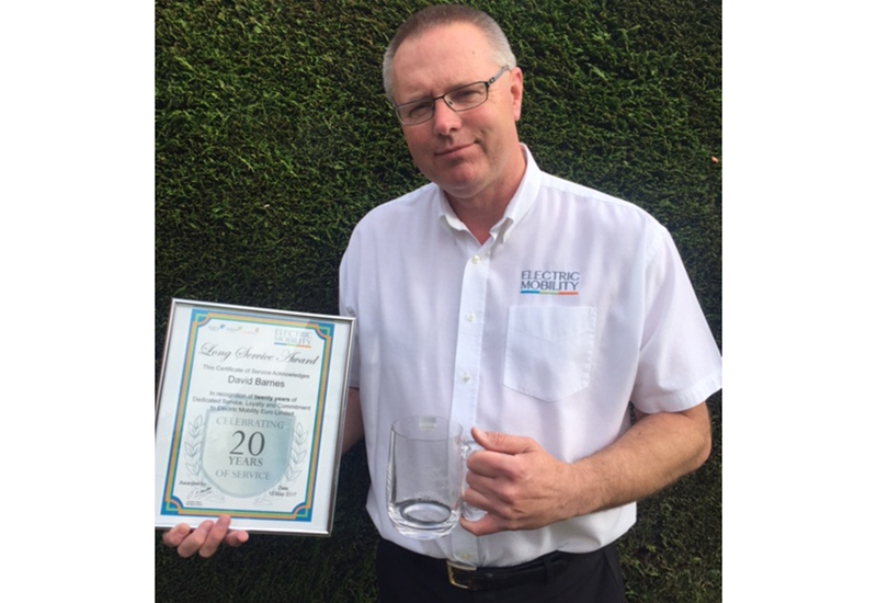 electric mobility David Barnes awarded for 20 years Long Service FINAL 1