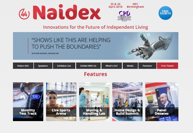 naidex website scrn shot