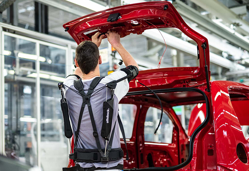 Ottobock Paexo exoskeleton in VW car factory