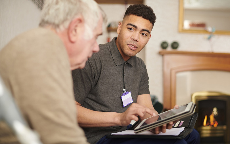 housing officer with client